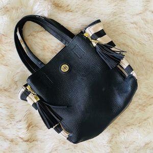 Kate Landry black and white striped hand bag